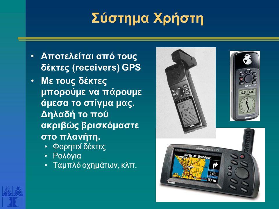 Σύστημα Χρήστη Αποτελείται από τους δέκτες (receivers) GPS Με τους δέκτες μπορούμε να πάρουμε άμεσα το στίγμα μας. Δηλαδή το πού ακριβώς βρισκόμαστε σ