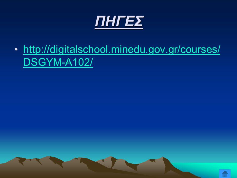 ΠΗΓΕΣ http://digitalschool.minedu.gov.gr/courses/ DSGYM-A102/http://digitalschool.minedu.gov.gr/courses/ DSGYM-A102/