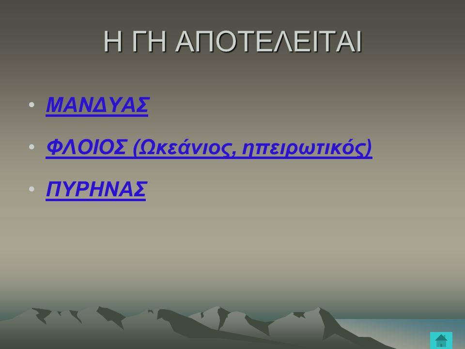 Η ΓΗ ΑΠΟΤΕΛΕΙΤΑΙ ΜΑΝΔΥΑΣ ΦΛΟΙΟΣ (Ωκεάνιος, ηπειρωτικός) ΠΥΡΗΝΑΣ