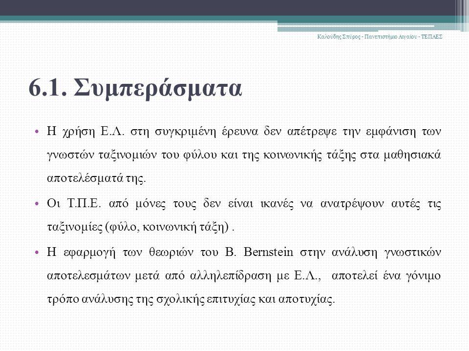 6.1. Συμπεράσματα Η χρήση Ε.Λ.