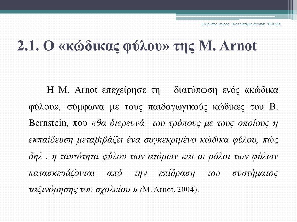 2.1. Ο «κώδικας φύλου» της M. Arnot H M.