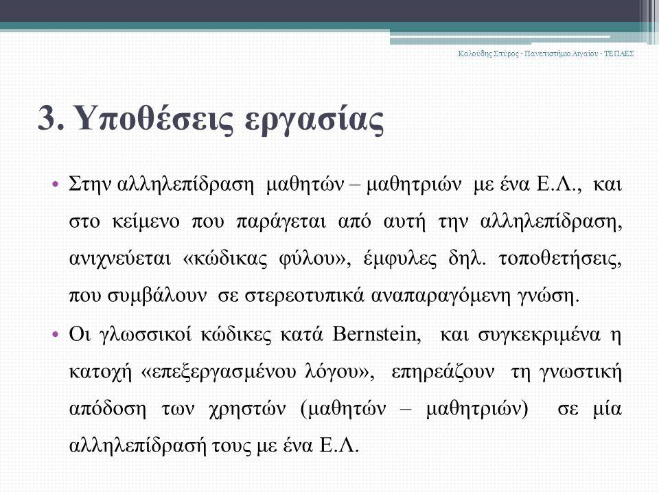 3. Υποθέσεις εργασίας Στην αλληλεπίδραση μαθητών – μαθητριών με ένα Ε.Λ., και στο κείμενο που παράγεται από αυτή την αλληλεπίδραση, ανιχνεύεται «κώδικ