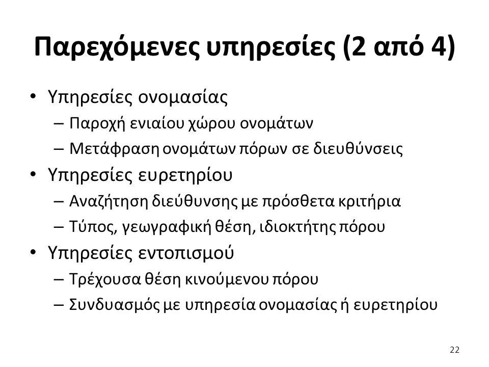 Παρεχόμενες υπηρεσίες (2 από 4) Υπηρεσίες ονομασίας – Παροχή ενιαίου χώρου ονομάτων – Μετάφραση ονομάτων πόρων σε διευθύνσεις Υπηρεσίες ευρετηρίου – Α