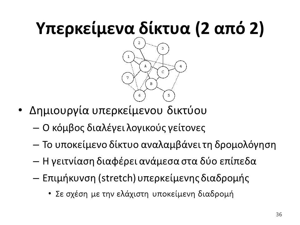 Υπερκείμενα δίκτυα (2 από 2) Δημιουργία υπερκείμενου δικτύου – Ο κόμβος διαλέγει λογικούς γείτονες – Το υποκείμενο δίκτυο αναλαμβάνει τη δρομολόγηση – Η γειτνίαση διαφέρει ανάμεσα στα δύο επίπεδα – Επιμήκυνση (stretch) υπερκείμενης διαδρομής Σε σχέση με την ελάχιστη υποκείμενη διαδρομή 36