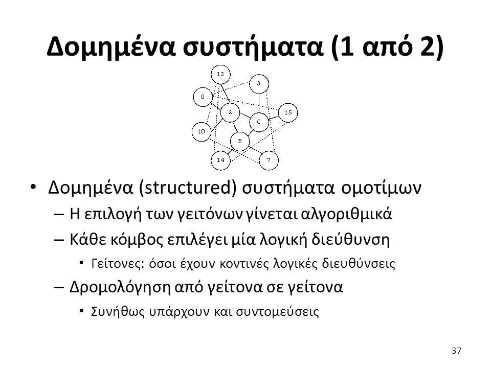 Δομημένα συστήματα (1 από 2) Δομημένα (structured) συστήματα ομοτίμων – Η επιλογή των γειτόνων γίνεται αλγοριθμικά – Κάθε κόμβος επιλέγει μία λογική διεύθυνση Γείτονες: όσοι έχουν κοντινές λογικές διευθύνσεις – Δρομολόγηση από γείτονα σε γείτονα Συνήθως υπάρχουν και συντομεύσεις 37