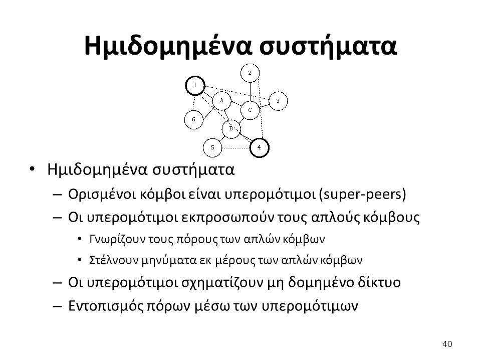 Ημιδομημένα συστήματα – Ορισμένοι κόμβοι είναι υπερομότιμοι (super-peers) – Οι υπερομότιμοι εκπροσωπούν τους απλούς κόμβους Γνωρίζουν τους πόρους των απλών κόμβων Στέλνουν μηνύματα εκ μέρους των απλών κόμβων – Οι υπερομότιμοι σχηματίζουν μη δομημένο δίκτυο – Εντοπισμός πόρων μέσω των υπερομότιμων 40