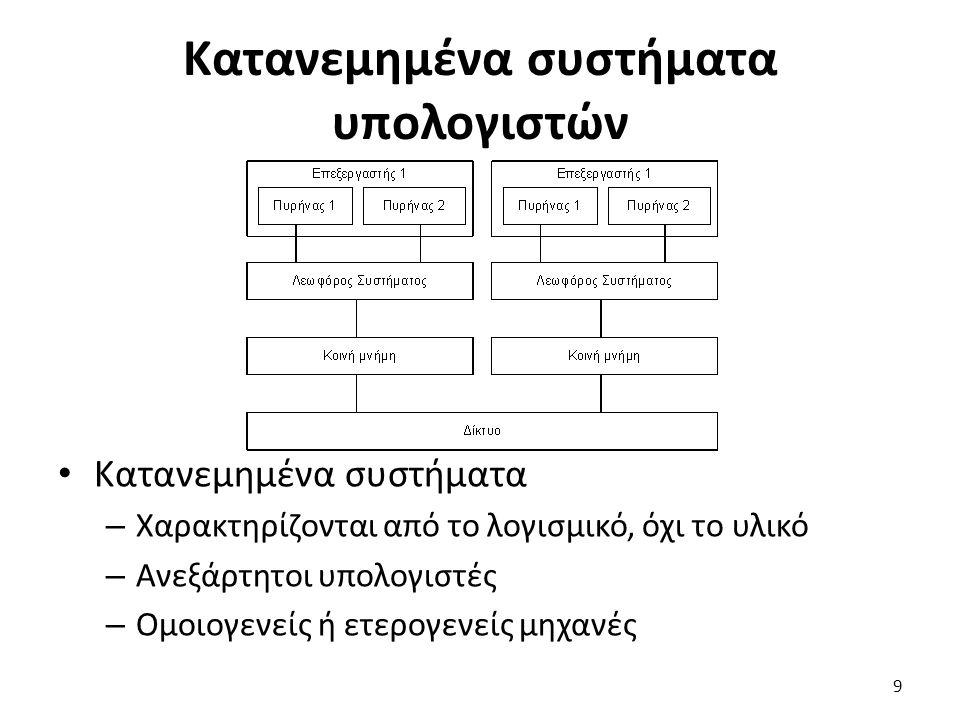 Κατανεμημένα συστήματα υπολογιστών Κατανεμημένα συστήματα – Χαρακτηρίζονται από το λογισμικό, όχι το υλικό – Ανεξάρτητοι υπολογιστές – Ομοιογενείς ή ετερογενείς μηχανές 9