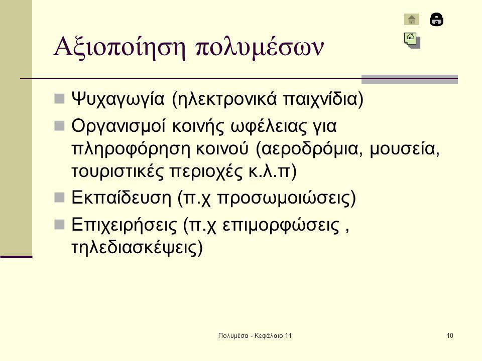 Πολυμέσα - Κεφάλαιο 1110 Αξιοποίηση πολυμέσων Ψυχαγωγία (ηλεκτρονικά παιχνίδια) Οργανισμοί κοινής ωφέλειας για πληροφόρηση κοινού (αεροδρόμια, μουσεία, τουριστικές περιοχές κ.λ.π) Εκπαίδευση (π.χ προσωμοιώσεις) Επιχειρήσεις (π.χ επιμορφώσεις, τηλεδιασκέψεις)