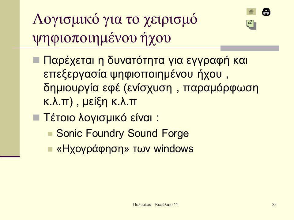 Πολυμέσα - Κεφάλαιο 1123 Λογισμικό για το χειρισμό ψηφιοποιημένου ήχου Παρέχεται η δυνατότητα για εγγραφή και επεξεργασία ψηφιοποιημένου ήχου, δημιουργία εφέ (ενίσχυση, παραμόρφωση κ.λ.π), μείξη κ.λ.π Τέτοιο λογισμικό είναι : Sonic Foundry Sound Forge «Ηχογράφηση» των windows