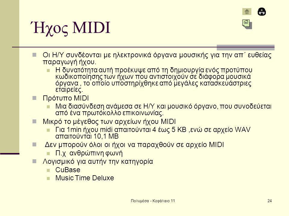 Πολυμέσα - Κεφάλαιο 1124 Ήχος MIDI Οι Η/Υ συνδέονται με ηλεκτρονικά όργανα μουσικής για την απ΄ ευθείας παραγωγή ήχου.