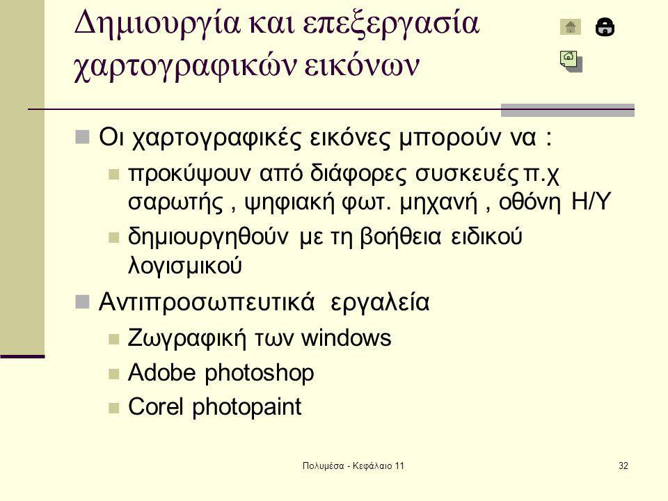 Πολυμέσα - Κεφάλαιο 1132 Δημιουργία και επεξεργασία χαρτογραφικών εικόνων Οι χαρτογραφικές εικόνες μπορούν να : προκύψουν από διάφορες συσκευές π.χ σαρωτής, ψηφιακή φωτ.