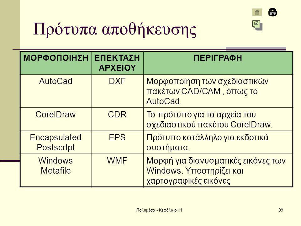 Πολυμέσα - Κεφάλαιο 1139 Πρότυπα αποθήκευσης ΜΟΡΦΟΠΟΙΗΣΗΕΠΕΚΤΑΣΗ ΑΡΧΕΙΟΥ ΠΕΡΙΓΡΑΦΗ AutoCadDXFΜορφοποίηση των σχεδιαστικών πακέτων CAD/CAM, όπως το AutoCad.