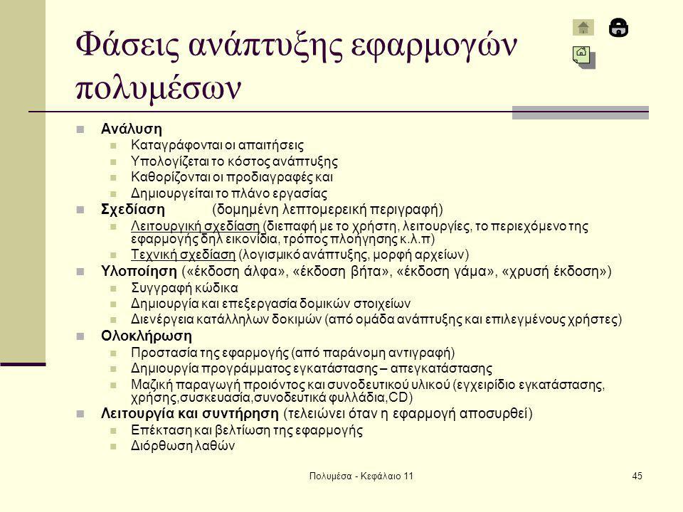 Πολυμέσα - Κεφάλαιο 1145 Φάσεις ανάπτυξης εφαρμογών πολυμέσων Ανάλυση Καταγράφονται οι απαιτήσεις Υπολογίζεται το κόστος ανάπτυξης Καθορίζονται οι προδιαγραφές και Δημιουργείται το πλάνο εργασίας Σχεδίαση(δομημένη λεπτομερεική περιγραφή) Λειτουργική σχεδίαση (διεπαφή με το χρήστη, λειτουργίες, το περιεχόμενο της εφαρμογής δηλ εικονίδια, τρόπος πλοήγησης κ.λ.π) Τεχνική σχεδίαση (λογισμικό ανάπτυξης, μορφή αρχείων) Υλοποίηση («έκδοση άλφα», «έκδοση βήτα», «έκδοση γάμα», «χρυσή έκδοση») Συγγραφή κώδικα Δημιουργία και επεξεργασία δομικών στοιχείων Διενέργεια κατάλληλων δοκιμών (από ομάδα ανάπτυξης και επιλεγμένους χρήστες) Ολοκλήρωση Προστασία της εφαρμογής (από παράνομη αντιγραφή) Δημιουργία προγράμματος εγκατάστασης – απεγκατάστασης Μαζική παραγωγή προιόντος και συνοδευτικού υλικού (εγχειρίδιο εγκατάστασης, χρήσης,συσκευασία,συνοδευτικά φυλλάδια,CD) Λειτουργία και συντήρηση (τελειώνει όταν η εφαρμογή αποσυρθεί) Επέκταση και βελτίωση της εφαρμογής Διόρθωση λαθών