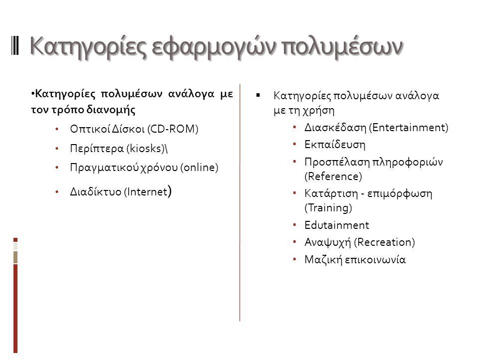 Χαρακτηριστικά πολυμέσων - υπερμέσων Χαρακτηριστικά πολυμέσων - υπερμέσων Κατηγορίες πολυμέσων ανάλογα με τον τρόπο διανομής Οπτικοί Δίσκοι (CD-ROM) Περίπτερα (kiosks)\ Πραγματικού χρόνου (online) Διαδίκτυο (Internet )  Κατηγορίες πολυμέσων ανάλογα με τη χρήση  Διασκέδαση (Entertainment)  Εκπαίδευση  Προσπέλαση πληροφοριών (Reference)  Κατάρτιση - επιμόρφωση (Training)  Edutainment  Αναψυχή (Recreation)  Μαζική επικοινωνία