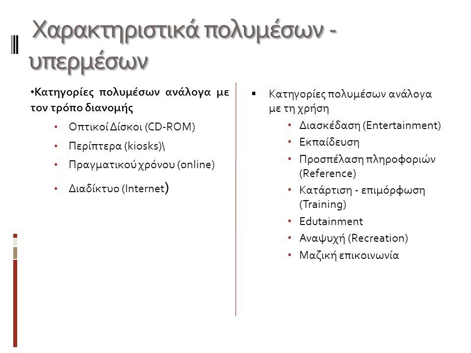 Χαρακτηριστικά πολυμέσων - υπερμέσων Χαρακτηριστικά πολυμέσων - υπερμέσων Κατηγορίες πολυμέσων ανάλογα με τον τρόπο διανομής Οπτικοί Δίσκοι (CD-ROM) Π