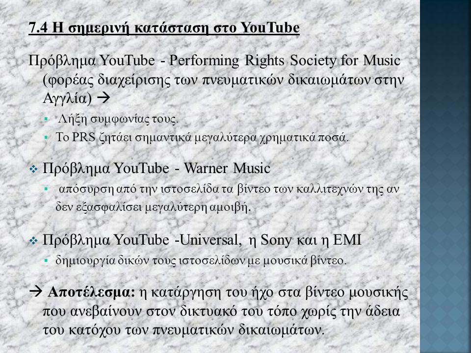 7.4 Η σημερινή κατάσταση στο YouTube Πρόβλημα YouTube - Performing Rights Society for Music (φορέας διαχείρισης των πνευματικών δικαιωμάτων στην Αγγλία)   Λήξη συμφωνίας τους.