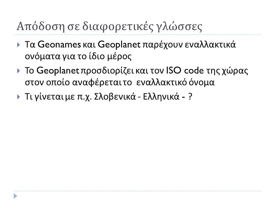 Απόδοση σε διαφορετικές γλώσσες  Τα Geonames και Geoplanet παρέχουν εναλλακτικά ονόματα για το ίδιο μέρος  Το Geoplanet προσδιορίζει και τον ISO code της χώρας στον οποίο αναφέρεται το εναλλακτικό όνομα  Τι γίνεται με π.