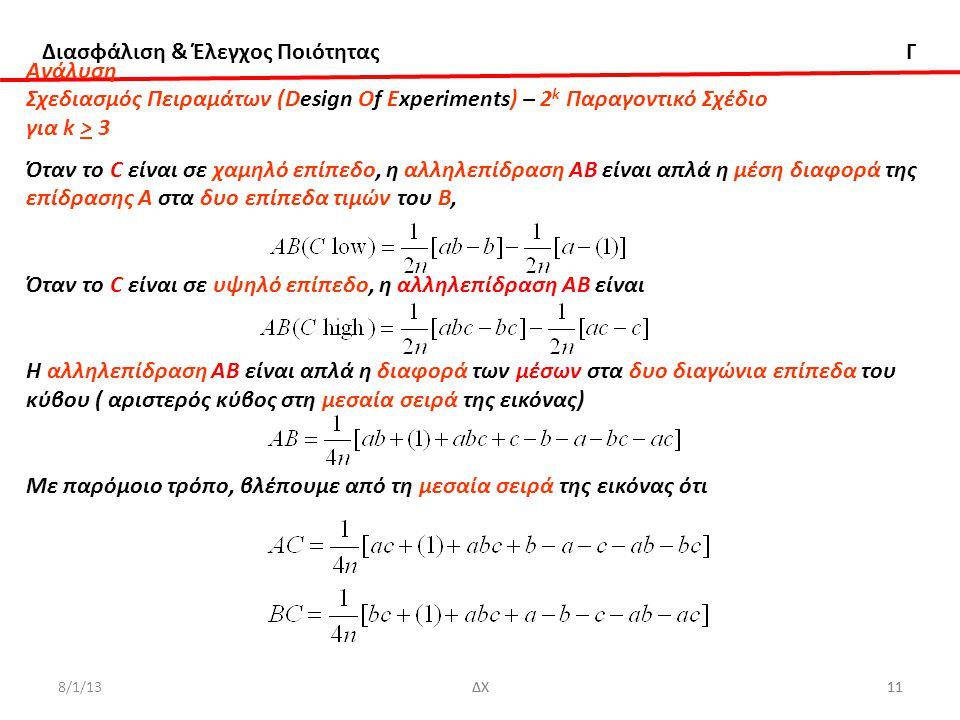 Διασφάλιση & Έλεγχος Ποιότητας Γ 8/1/13ΔΧ11ΔΧ11 Ανάλυση Σχεδιασμός Πειραμάτων (Design Of Experiments) – 2 k Παραγοντικό Σχέδιο για k > 3 Όταν το C είναι σε χαμηλό επίπεδο, η αλληλεπίδραση ΑΒ είναι απλά η μέση διαφορά της επίδρασης Α στα δυο επίπεδα τιμών του Β, Όταν το C είναι σε υψηλό επίπεδο, η αλληλεπίδραση ΑΒ είναι Η αλληλεπίδραση ΑΒ είναι απλά η διαφορά των μέσων στα δυο διαγώνια επίπεδα του κύβου ( αριστερός κύβος στη μεσαία σειρά της εικόνας) Με παρόμοιο τρόπο, βλέπουμε από τη μεσαία σειρά της εικόνας ότι