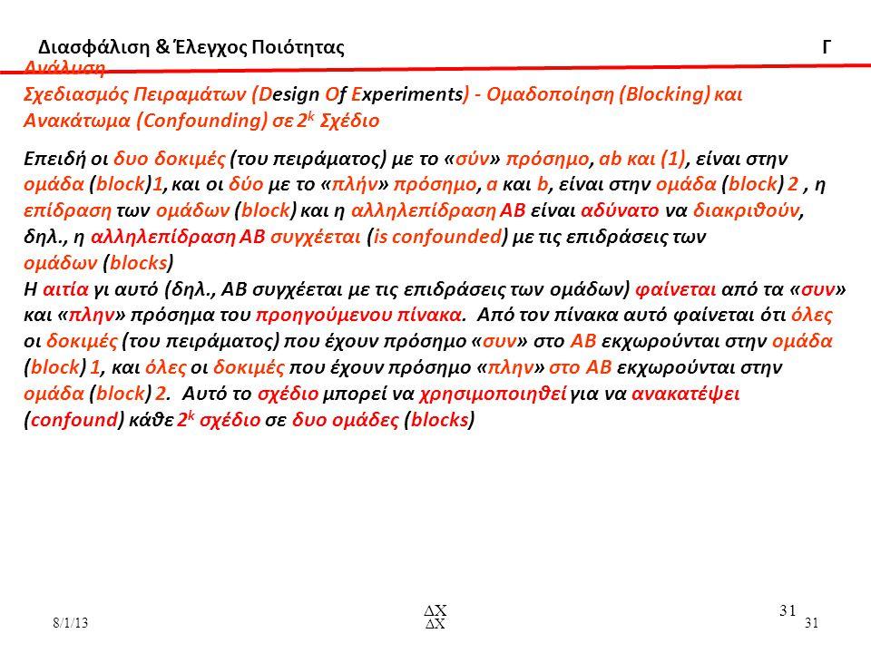 Διασφάλιση & Έλεγχος Ποιότητας Γ 8/1/13ΔΧ31 ΔΧ31 Aνάλυση Σχεδιασμός Πειραμάτων (Design Of Experiments) - Ομαδοποίηση (Blocking) και Ανακάτωμα (Confounding) σε 2 k Σχέδιο Επειδή οι δυο δοκιμές (του πειράματος) με το «σύν» πρόσημο, ab και (1), είναι στην ομάδα (block)1, και οι δύο με το «πλήν» πρόσημο, a και b, είναι στην ομάδα (block) 2, η επίδραση των ομάδων (block) και η αλληλεπίδραση ΑΒ είναι αδύνατο να διακριθούν, δηλ., η αλληλεπίδραση ΑΒ συγχέεται (is confounded) με τις επιδράσεις των ομάδων (blocks) Η αιτία γι αυτό (δηλ., ΑΒ συγχέεται με τις επιδράσεις των ομάδων) φαίνεται από τα «συν» και «πλην» πρόσημα του προηγούμενου πίνακα.