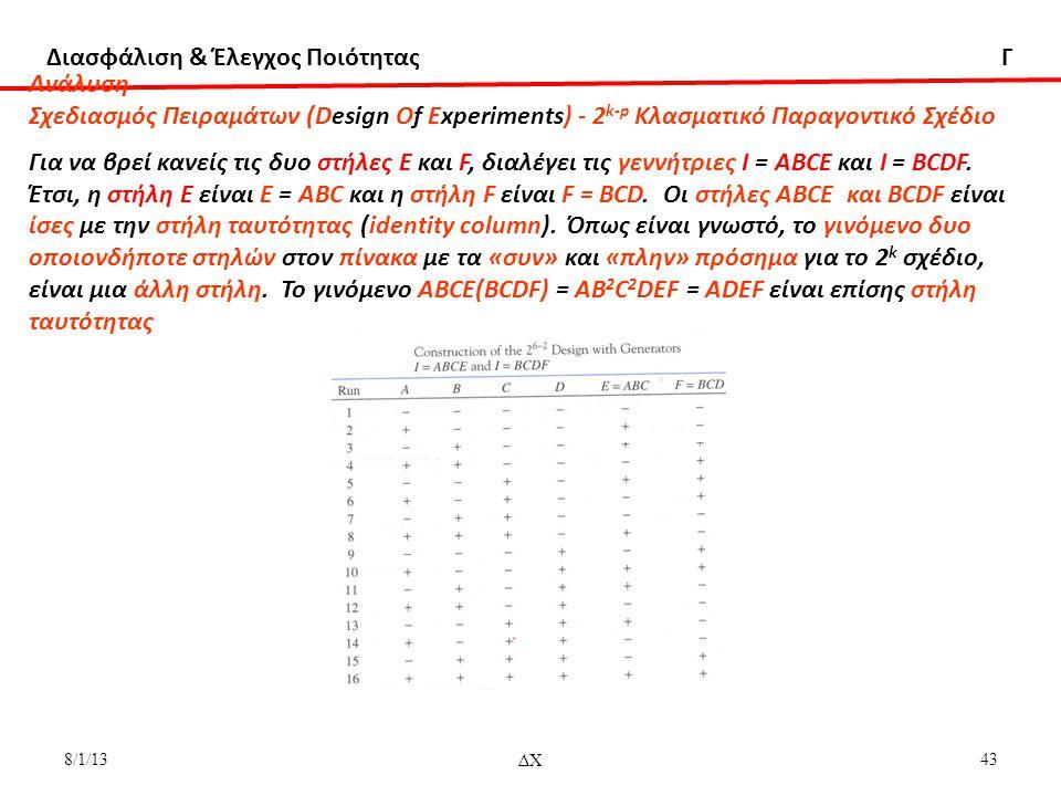 Διασφάλιση & Έλεγχος Ποιότητας Γ 8/1/13ΔΧ43 Aνάλυση Σχεδιασμός Πειραμάτων (Design Of Experiments) - 2 k-p Κλασματικό Παραγοντικό Σχέδιο Για να βρεί κανείς τις δυο στήλες Ε και F, διαλέγει τις γεννήτριες Ι = ΑΒCΕ και Ι = ΒCDF.