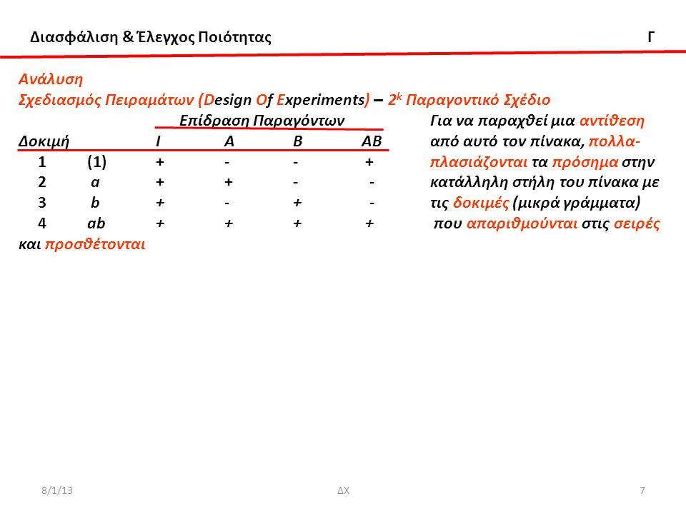 Διασφάλιση & Έλεγχος Ποιότητας Γ 8/1/13ΔΧ18ΔΧ18 Ανάλυση Σχεδιασμός Πειραμάτων (Design Of Experiments) – 2 k Παραγοντικό Σχέδιο για k > 3 Παράδειγμα