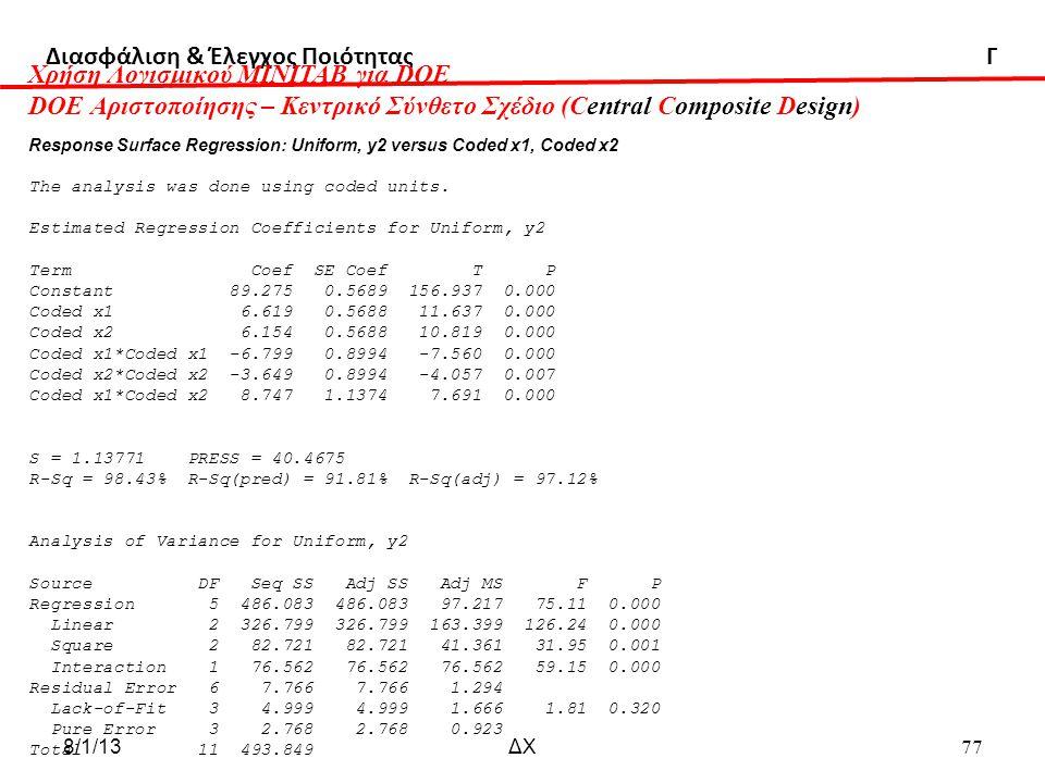 Διασφάλιση & Έλεγχος Ποιότητας Γ Χρήση Λογισμικού ΜΙΝΙΤΑΒ για DOE DOE Αριστοποίησης – Κεντρικό Σύνθετο Σχέδιο (Central Composite Design) Response Surface Regression: Uniform, y2 versus Coded x1, Coded x2 The analysis was done using coded units.