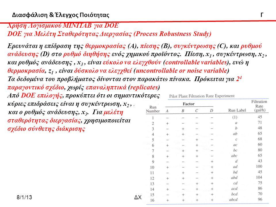 Διασφάλιση & Έλεγχος Ποιότητας Γ 8/1/13ΔΧ 81 Χρήση Λογισμικού ΜΙΝΙΤΑΒ για DOE DOE για Μελέτη Σταθερότητας Διεργασίας (Process Robustness Study) Ερευνάται η επίδραση της θερμοκρασίας (Α), πίεσης (Β), συγκέντρωσης (C), και ρυθμού ανάδευσης (D) στο ρυθμό διηθήσης ενός χημικού προϊόντος.