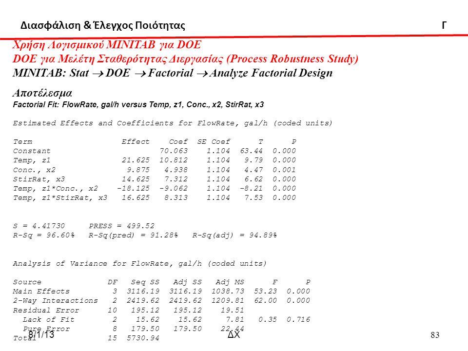 Διασφάλιση & Έλεγχος Ποιότητας Γ Χρήση Λογισμικού ΜΙΝΙΤΑΒ για DOE DOE για Μελέτη Σταθερότητας Διεργασίας (Process Robustness Study) MINITAB: Stat  DOE  Factorial  Analyze Factorial Design Αποτέλεσμα Factorial Fit: FlowRate, gal/h versus Temp, z1, Conc., x2, StirRat, x3 Estimated Effects and Coefficients for FlowRate, gal/h (coded units) Term Effect Coef SE Coef T P Constant 70.063 1.104 63.44 0.000 Temp, z1 21.625 10.812 1.104 9.79 0.000 Conc., x2 9.875 4.938 1.104 4.47 0.001 StirRat, x3 14.625 7.312 1.104 6.62 0.000 Temp, z1*Conc., x2 -18.125 -9.062 1.104 -8.21 0.000 Temp, z1*StirRat, x3 16.625 8.313 1.104 7.53 0.000 S = 4.41730 PRESS = 499.52 R-Sq = 96.60% R-Sq(pred) = 91.28% R-Sq(adj) = 94.89% Analysis of Variance for FlowRate, gal/h (coded units) Source DF Seq SS Adj SS Adj MS F P Main Effects 3 3116.19 3116.19 1038.73 53.23 0.000 2-Way Interactions 2 2419.62 2419.62 1209.81 62.00 0.000 Residual Error 10 195.12 195.12 19.51 Lack of Fit 2 15.62 15.62 7.81 0.35 0.716 Pure Error 8 179.50 179.50 22.44 Total 15 5730.94 8/1/13ΔΧ 83