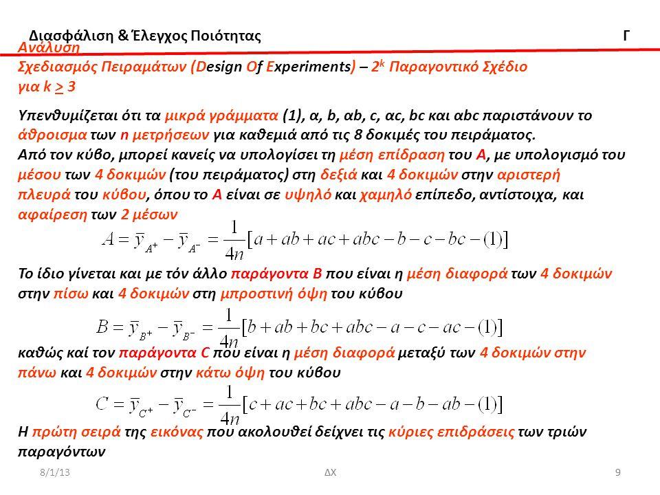 Διασφάλιση & Έλεγχος Ποιότητας Γ 8/1/13ΔΧ50 ΔΧ Aνάλυση Σχεδιασμός Πειραμάτων (Design Of Experiments) - 2 k-p Κλασματικό Παραγοντικό Σχέδιο Παράδειγμα Η μέση συρρίκνωση μπορεί να μειωθεί σχεδόν στο μηδέν με κατάλληλη τροποποίηση της μηχανής, αλλά η μεταβλητότητα στη συρρίκνωση από κομμάτι σε κομμάτι κατά τη διάρκεια μιας δοκιμής μπορεί να προκαλέσει προβλήματα στη συναρμολόγηση, ακόμη κι αν η μέση συρρίκνωση είναι σχεδόν μηδέν.