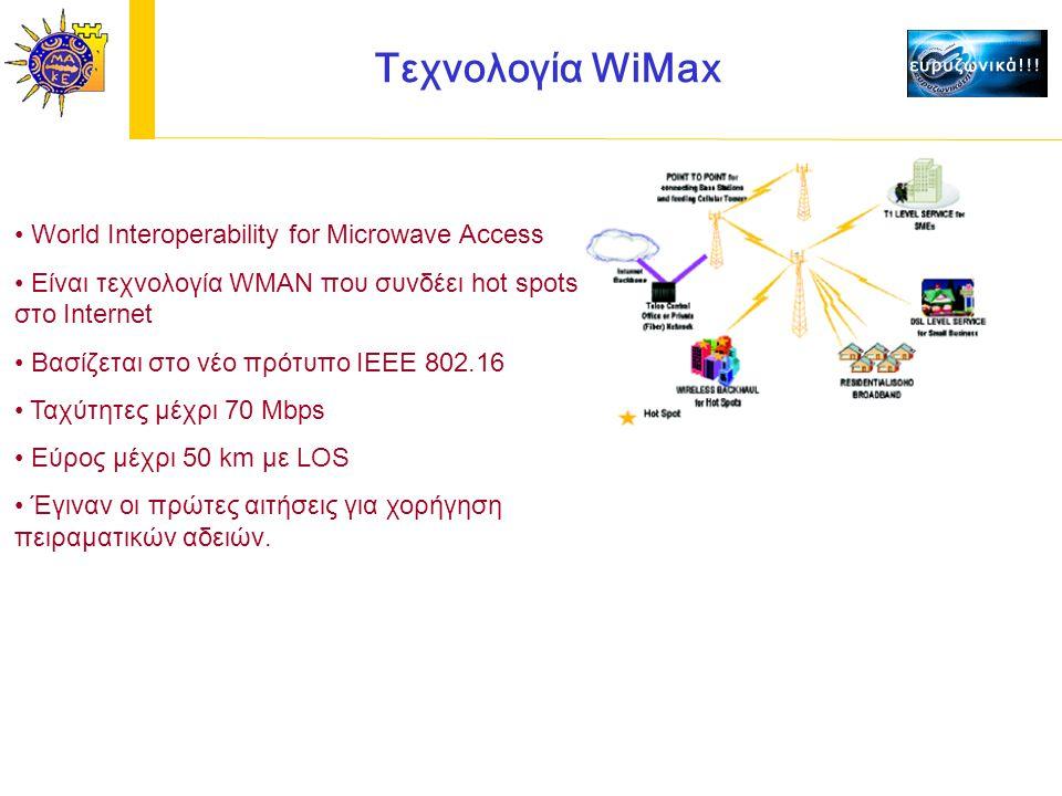Τεχνολογία WiMax World Interoperability for Microwave Access Είναι τεχνολογία WMAN που συνδέει hot spots στο Internet Βασίζεται στο νέο πρότυπο IEEE 802.16 Ταχύτητες μέχρι 70 Mbps Εύρος μέχρι 50 km με LOS Έγιναν οι πρώτες αιτήσεις για χορήγηση πειραματικών αδειών.