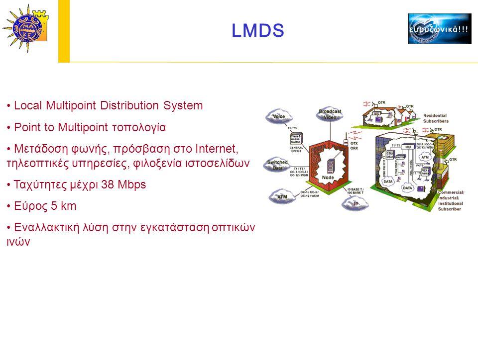 LMDS Local Multipoint Distribution System Point to Multipoint τοπολογία Μετάδοση φωνής, πρόσβαση στο Internet, τηλεοπτικές υπηρεσίες, φιλοξενία ιστοσελίδων Ταχύτητες μέχρι 38 Mbps Εύρος 5 km Εναλλακτική λύση στην εγκατάσταση οπτικών ινών