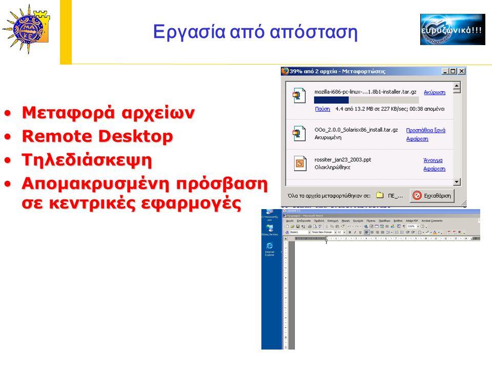 Εργασία από απόσταση Μεταφορά αρχείωνΜεταφορά αρχείων Remote DesktopRemote Desktop ΤηλεδιάσκεψηΤηλεδιάσκεψη Απομακρυσμένη πρόσβαση σε κεντρικές εφαρμογέςΑπομακρυσμένη πρόσβαση σε κεντρικές εφαρμογές