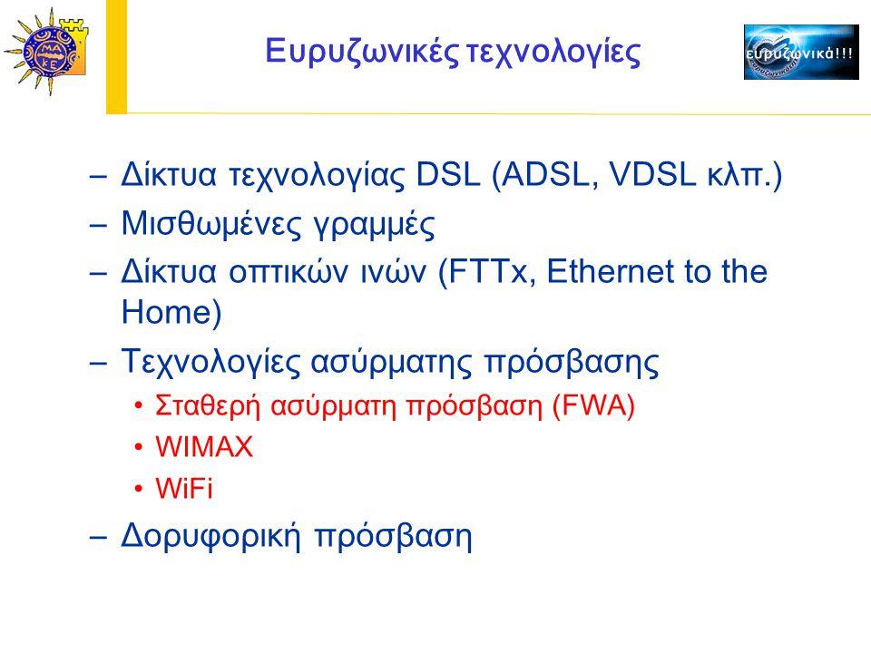 Ευρυζωνικές τεχνολογίες –Δίκτυα τεχνολογίας DSL (ADSL, VDSL κλπ.) –Μισθωμένες γραμμές –Δίκτυα οπτικών ινών (FTTx, Ethernet to the Home) –Τεχνολογίες ασύρματης πρόσβασης Σταθερή ασύρματη πρόσβαση (FWA) WIMAX WiFi –Δορυφορική πρόσβαση