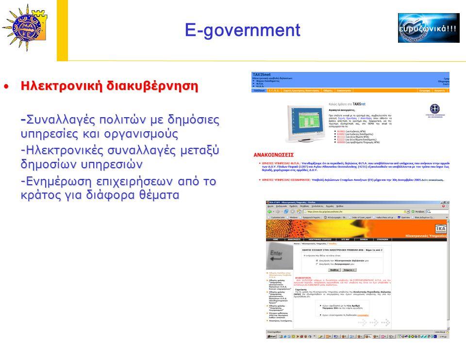 E-government Ηλεκτρονική διακυβέρνησηΗλεκτρονική διακυβέρνηση -Συναλλαγές πολιτών με δημόσιες υπηρεσίες και οργανισμούς -Ηλεκτρονικές συναλλαγές μεταξύ δημοσίων υπηρεσιών -Ενημέρωση επιχειρήσεων από το κράτος για διάφορα θέματα