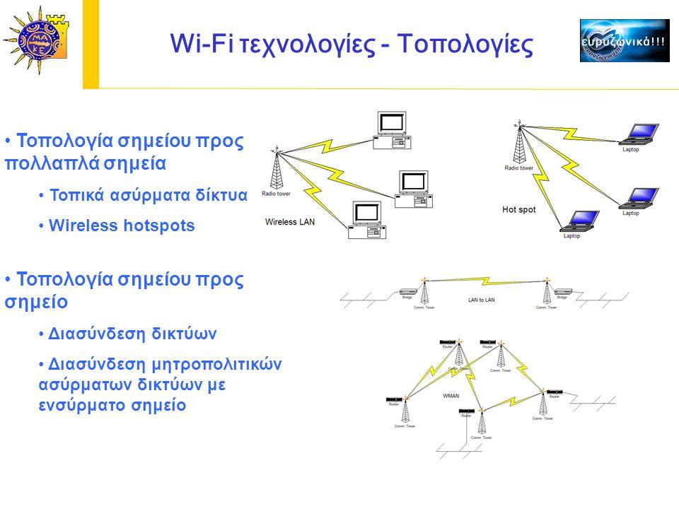 Wi-Fi τεχνολογίες - Τοπολογίες Τοπολογία σημείου προς πολλαπλά σημεία Τοπικά ασύρματα δίκτυα Wireless hotspots Τοπολογία σημείου προς σημείο Διασύνδεση δικτύων Διασύνδεση μητροπολιτικών ασύρματων δικτύων με ενσύρματο σημείο