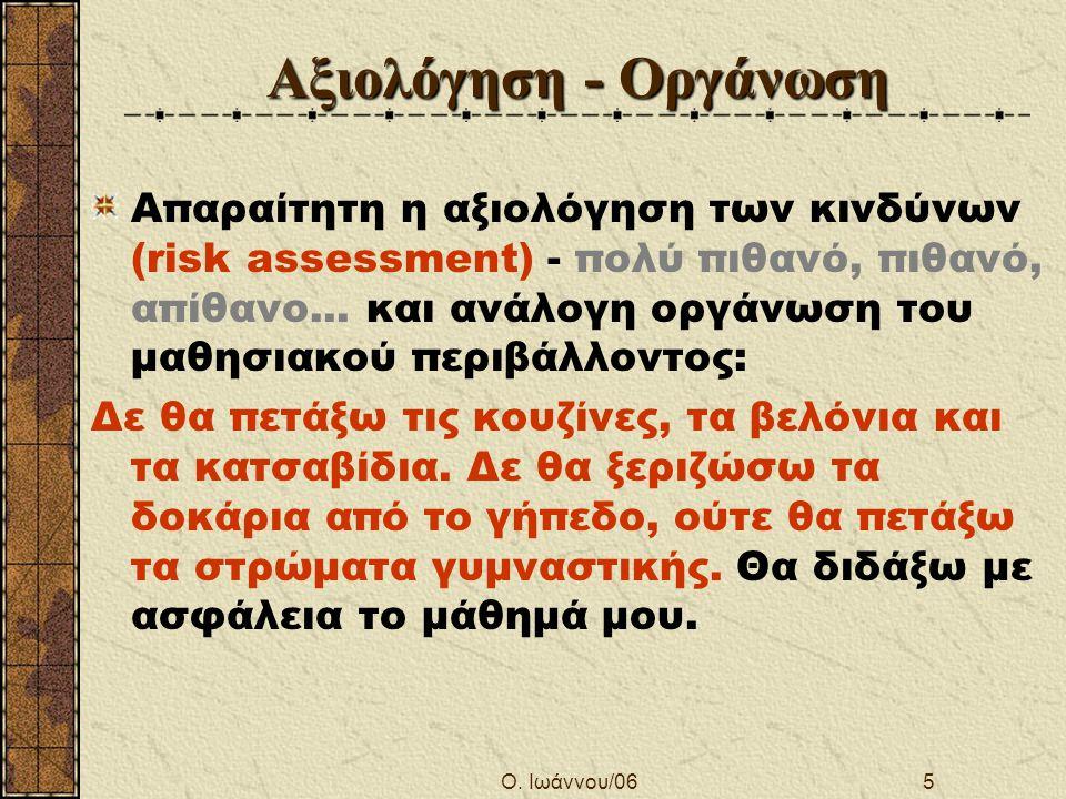 Ο. Ιωάννου/065 Αξιολόγηση - Οργάνωση Απαραίτητη η αξιολόγηση των κινδύνων (risk assessment) - πολύ πιθανό, πιθανό, απίθανο... και ανάλογη οργάνωση του
