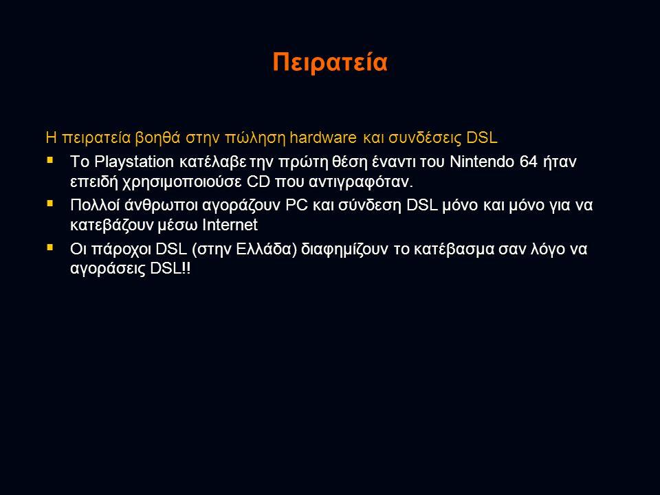 Πειρατεία Η πειρατεία βοηθά στην πώληση hardware και συνδέσεις DSL  Tο Playstation κατέλαβε την πρώτη θέση έναντι του Nintendo 64 ήταν επειδή χρησιμοποιούσε CD που αντιγραφόταν.