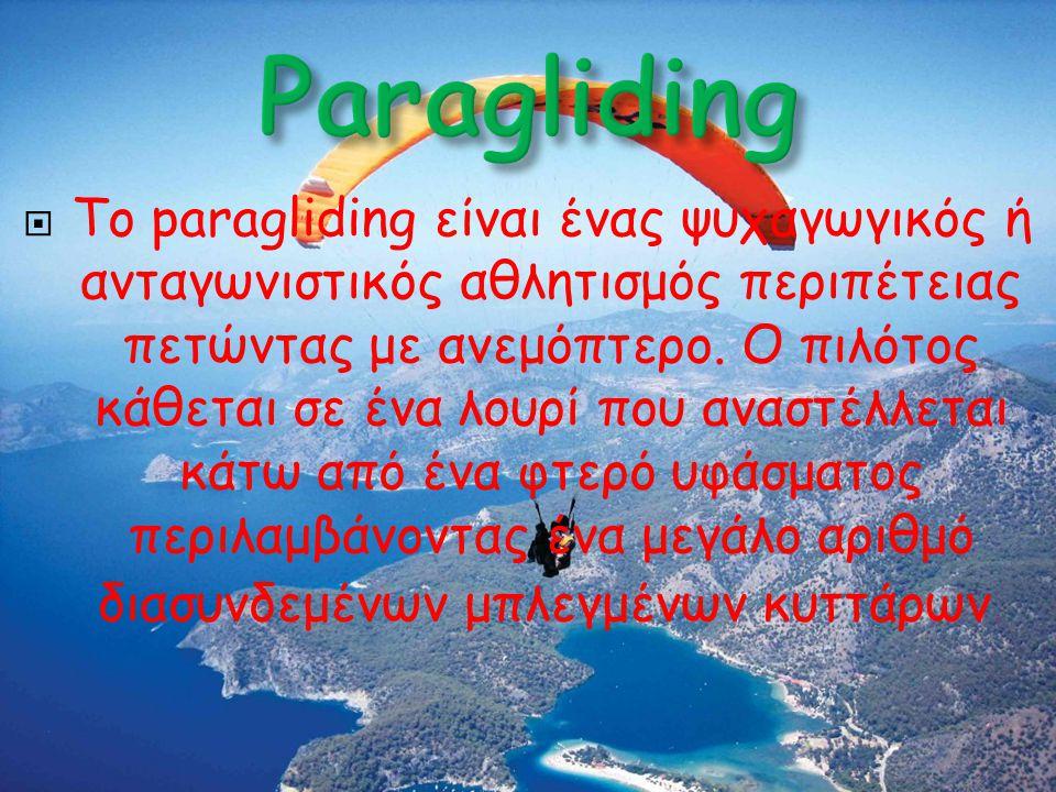  Το paragliding είναι ένας ψυχαγωγικός ή ανταγωνιστικός αθλητισμός περιπέτειας πετώντας με ανεμόπτερο. Ο πιλότος κάθεται σε ένα λουρί που αναστέλλετα