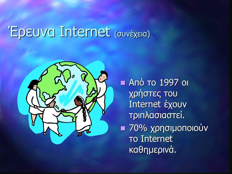 Έρευνα Internet (συνέχεια) Από το 1997 οι χρήστες του Internet έχουν τριπλασιαστεί.
