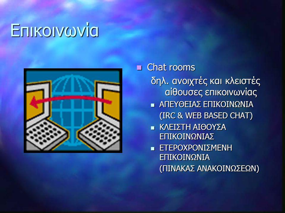 Επικοινωνία Chat rooms δηλ.