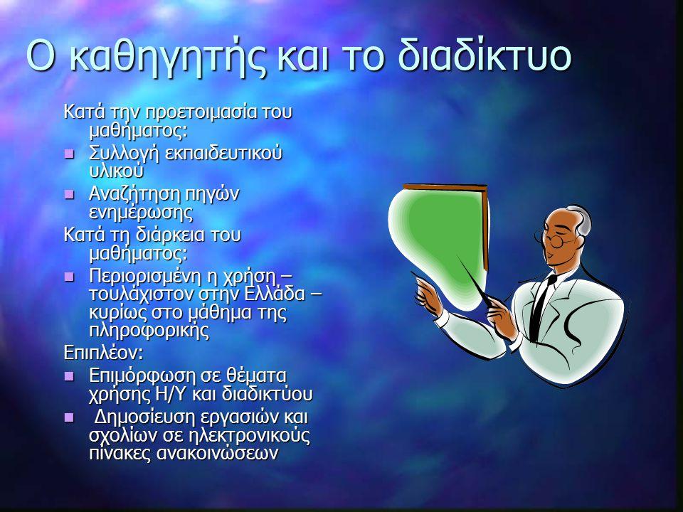 Ο καθηγητής και το διαδίκτυο Κατά την προετοιμασία του μαθήματος: Συλλογή εκπαιδευτικού υλικού Συλλογή εκπαιδευτικού υλικού Αναζήτηση πηγών ενημέρωσης Αναζήτηση πηγών ενημέρωσης Κατά τη διάρκεια του μαθήματος: Περιορισμένη η χρήση – τουλάχιστον στην Ελλάδα – κυρίως στο μάθημα της πληροφορικής Περιορισμένη η χρήση – τουλάχιστον στην Ελλάδα – κυρίως στο μάθημα της πληροφορικήςΕπιπλέον: Επιμόρφωση σε θέματα χρήσης Η/Υ και διαδικτύου Επιμόρφωση σε θέματα χρήσης Η/Υ και διαδικτύου Δημοσίευση εργασιών και σχολίων σε ηλεκτρονικούς πίνακες ανακοινώσεων Δημοσίευση εργασιών και σχολίων σε ηλεκτρονικούς πίνακες ανακοινώσεων