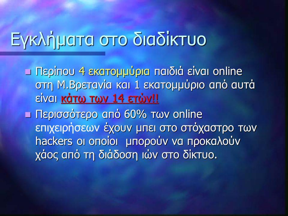 Εγκλήματα στο διαδίκτυο Περίπου 4 εκατομμύρια παιδιά είναι online στη Μ.Βρετανία και 1 εκατομμύριο από αυτά είναι κάτω των 14 ετών!.