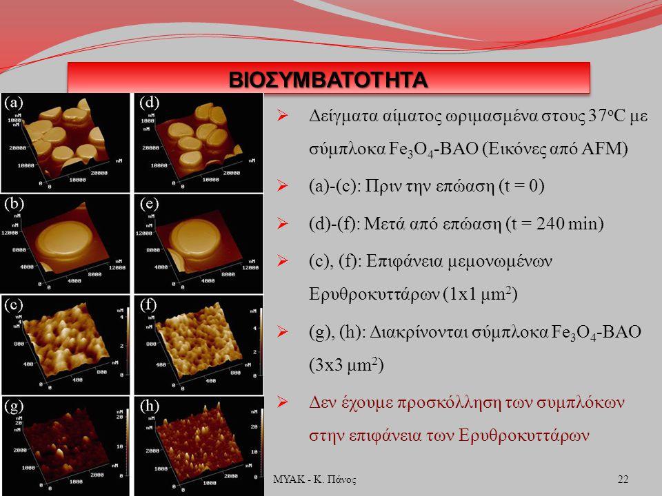 ΒΙΟΣΥΜΒΑΤΟΤΗΤΑΒΙΟΣΥΜΒΑΤΟΤΗΤΑ  Δείγματα αίματος ωριμασμένα στους 37 ο C με σύμπλοκα Fe 3 O 4 -ΒΑΟ (Εικόνες από AFM)  (a)-(c): Πριν την επώαση (t = 0)  (d)-(f): Μετά από επώαση (t = 240 min)  (c), (f): Επιφάνεια μεμονωμένων Ερυθροκυττάρων (1x1 μm 2 )  (g), (h): Διακρίνονται σύμπλοκα Fe 3 O 4 -ΒΑΟ (3x3 μm 2 )  Δεν έχουμε προσκόλληση των συμπλόκων στην επιφάνεια των Ερυθροκυττάρων 22ΜΥΑΚ - Κ.
