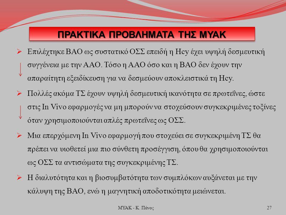 ΠΡΑΚΤΙΚΑ ΠΡΟΒΛΗΜΑΤΑ ΤΗΣ ΜΥΑΚ  Επιλέχτηκε ΒΑΟ ως συστατικό ΟΣΣ επειδή η Hcy έχει υψηλή δεσμευτική συγγένεια με την ΑΑΟ.