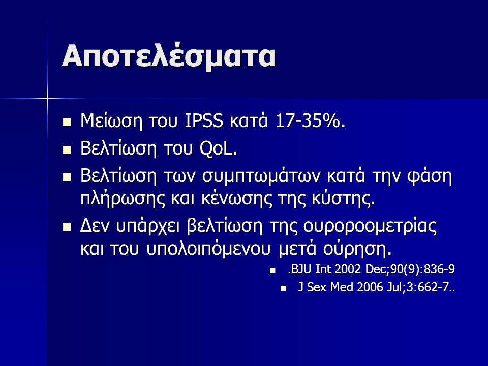 Αποτελέσματα Μείωση του IPSS κατά 17-35%. Μείωση του IPSS κατά 17-35%. Βελτίωση του QoL. Βελτίωση του QoL. Βελτίωση των συμπτωμάτων κατά την φάση πλήρ