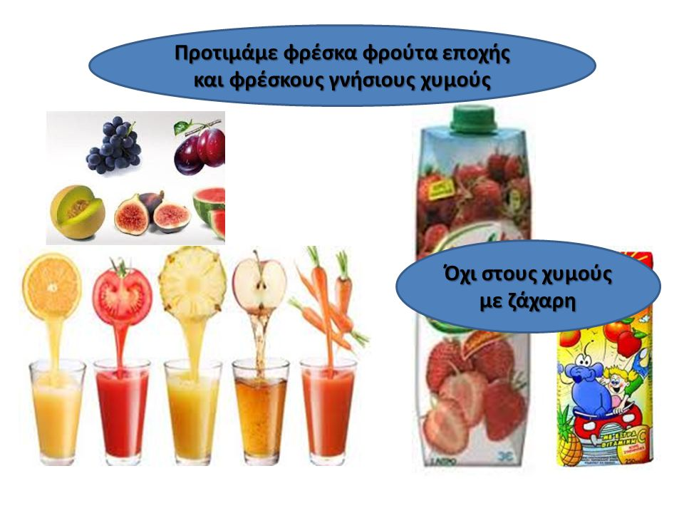 Όχι στους χυμούς με ζάχαρη Προτιμάμε φρέσκα φρούτα εποχής και φρέσκους γνήσιους χυμούς