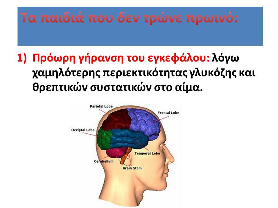 1)Πρόωρη γήρανση του εγκεφάλου: λόγω χαμηλότερης περιεκτικότητας γλυκόζης και θρεπτικών συστατικών στο αίμα.