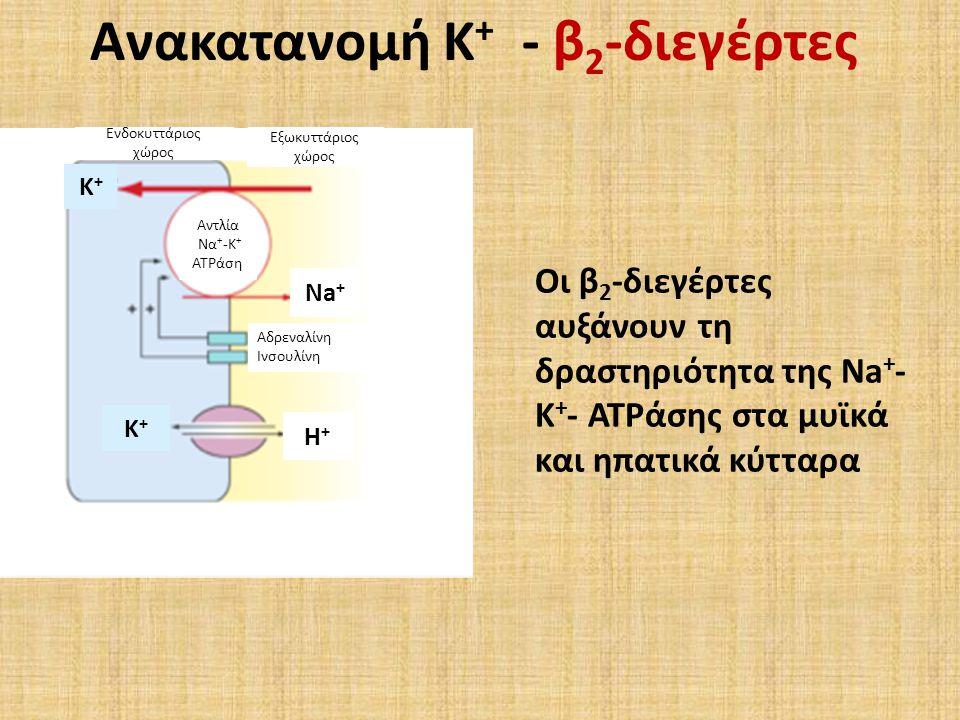 Εξωκυττάριος χώρος Ενδοκυττάριος χώρος Αδρεναλίνη Ινσουλίνη Αντλία Να + -Κ + ATPάση Ανακατανομή Κ + - β 2 -διεγέρτες Οι β 2 -διεγέρτες αυξάνουν τη δραστηριότητα της Na + - K + - ATPάσης στα μυϊκά και ηπατικά κύτταρα Na + H+H+ K+K+ K+K+