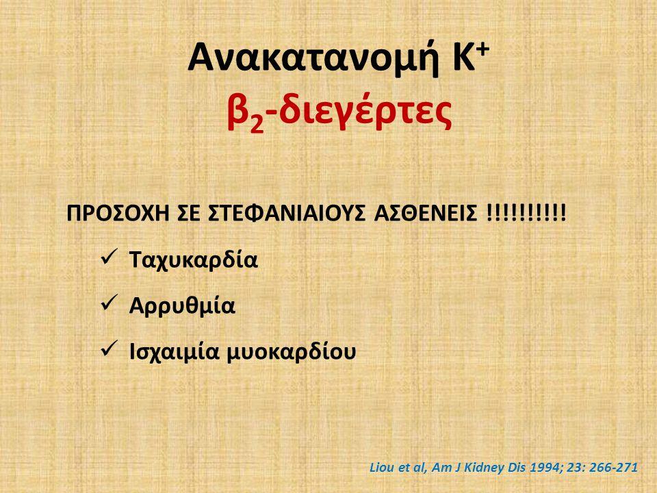 Ανακατανομή Κ + β 2 -διεγέρτες ΠΡΟΣΟΧΗ ΣΕ ΣΤΕΦΑΝΙΑΙΟΥΣ ΑΣΘΕΝΕΙΣ !!!!!!!!!.
