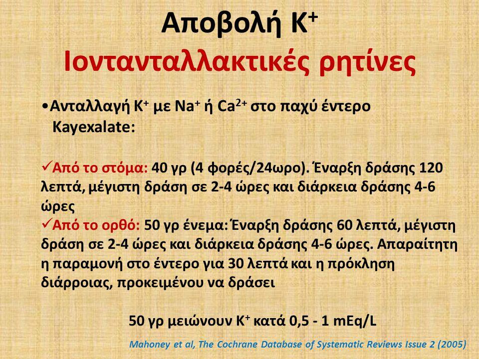 Αποβολή Κ + Ιοντανταλλακτικές ρητίνες Ανταλλαγή Κ + με Νa + ή Ca 2+ στο παχύ έντερο Kayexalate: Aπό το στόμα: 40 γρ (4 φορές/24ωρο).